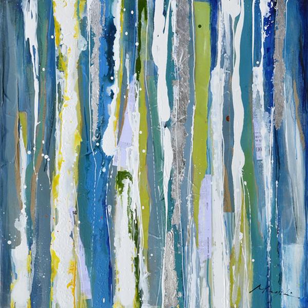 Tableau abstrait bleu vert et jaune 39 5x39 5 39 39 d cors for Tableau bleu et gris