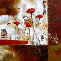 Tableau abstrait avec fleurs rouges 20x20''