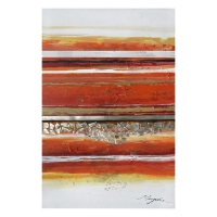 Abstract red and beige handpainting 31,5x47''