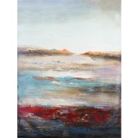 Tableau abstrait rouge et bleu, peint à la main 36 x 48''