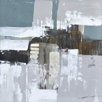 Tableau abstrait structuré bleu et gris 31,5x31,5''