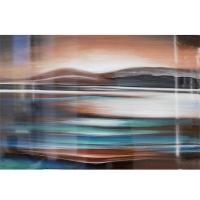 Tableau abstrait vagué bleu, fini lustré 24 x 36''
