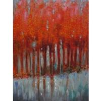 Tableau arbre abstraits rouges, peint à la main 36 x 48''
