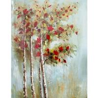 Tableau arbre rougi peint à la main, fini lustré 36 x 48''