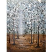 Tableau arbres lumineux bleus et blancs 36 x 48''