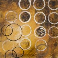 Tableau beige avec cercles, peint à la main 24x24''