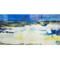 Tableau bleu et blanc abstrait, fini lustré 30 x 60''