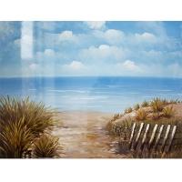 Tableau bord de mer peint à la main, fini lustré 36 x 48''