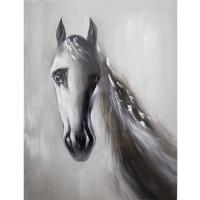 Tableau cheval noir et blanc, peint à la main, fini lustré 3