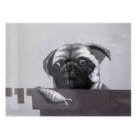 Grey and black pug hand painting 36 x 48''