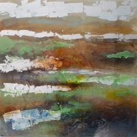 Tableau coloré abstrait, peint à la main 40 x 40''