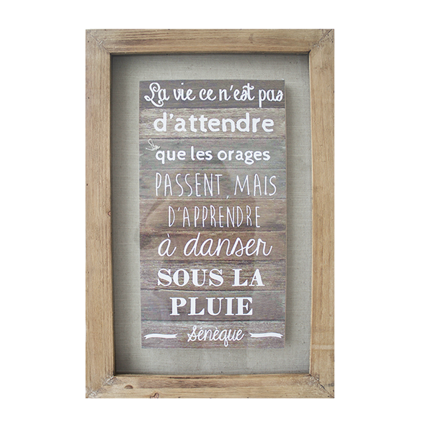 tableau en bois avec citation 16 x 2 x 24 39 39 d cors v ronneau. Black Bedroom Furniture Sets. Home Design Ideas