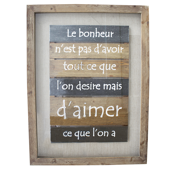 tableau en bois avec citation 31 5 x 2 x 24 39 39 d cors v ronneau. Black Bedroom Furniture Sets. Home Design Ideas
