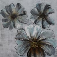 Tableau fleur bleue diaphane, peint à la main 36 x 36''