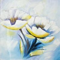 Tableau fleurs blanches peint à la main 24x24''