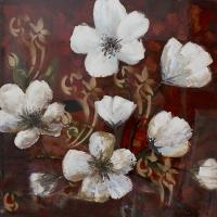 Tableau fleurs blanches sur fond rouge, peint à main 40 x 40