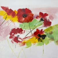 Flowers painting, hand painted in glossy oil 24x24''