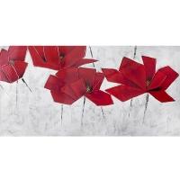 Tableau fleurs rouges, peint à la main 30 x 60''