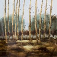 Tableau forêt bleue et beige, fini lustré 36 x 36''