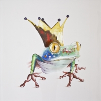 Tableau grenouille coloré, peint à la main 36x36''