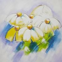 Tableau marguerites peint à la main 24x24''