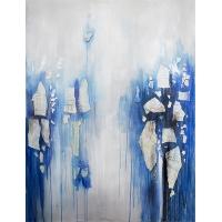 Tableau moderne bleu et blanc, fini lustré 36 x 48''