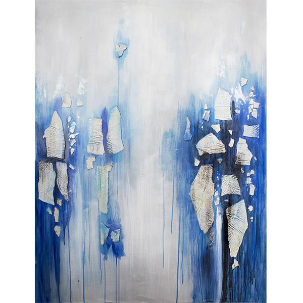 tableau moderne bleu et blanc fini lustr 36 x 48 39 39 d cors v ronneau. Black Bedroom Furniture Sets. Home Design Ideas