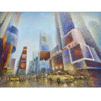 Tableau peint à la main Time Square 78,8x59''