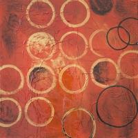 Tableau rouge avec cercles, peint à la main 24x24''