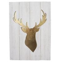Tableau tête de chevreuil sur bois blanc, 15.5 x 22 x 1''