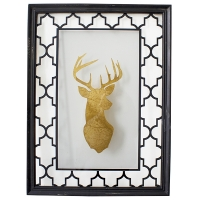 Glass & metal wall decor with deer, 18 x 24.5 x 1''