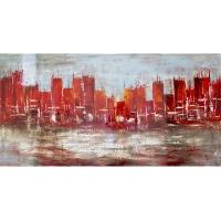 Tableau ville abstraite rouge, fini lustré 30 x 60''