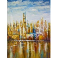 Abstract city hand painting, high gloss finish 36 x 48''