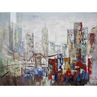 Tableau ville peint à la main, fini lustré 36 x 48''