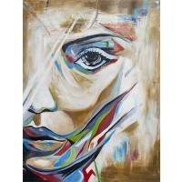 Tableau visage de femme peint à la main, fini lustré 36 x 48