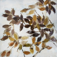 Brown foliage hand-painting, high gloss finish