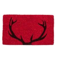 Tapis de porte rouge, ramure de cerf 18 x 30''