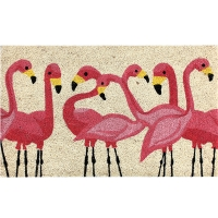 Flamboyance of Flamingos fibre doormat 18x30''