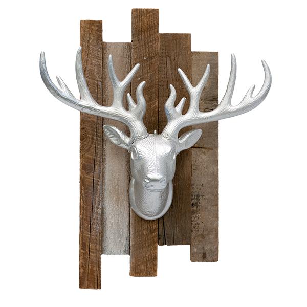 T te de cerf argent sur bois de grange d cors v ronneau - Tete de cerf en bois ...