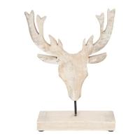 Tête de cerf en bois, 10 X 2 X 10''