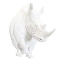 Shiny white rhino head wall décor 28x20x19''