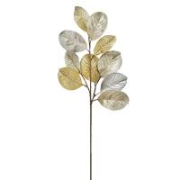 Tige de feuilles de magnolia argentée et cuivre 29''
