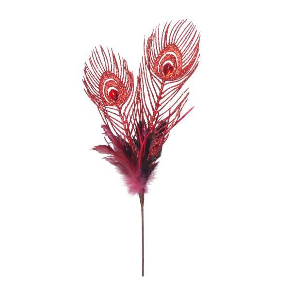 tige de plume de paon de couleur rouge 20 39 39 d cors v ronneau. Black Bedroom Furniture Sets. Home Design Ideas