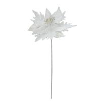 Tige de poinsettia perlé blanc