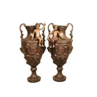 Bronze urn 16 x 17 x 32''