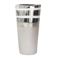 Silver texture ceramic urn 8,1x5,7x16''