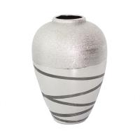 Round ceramic silver urn 8,8,x11,8''