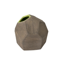 Vase angulaire en céramique taupe et verte, 5 x 6 x 6''