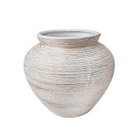 Vase arrondi blanc/gris en céramique texturée, 5 x 6 x 6''