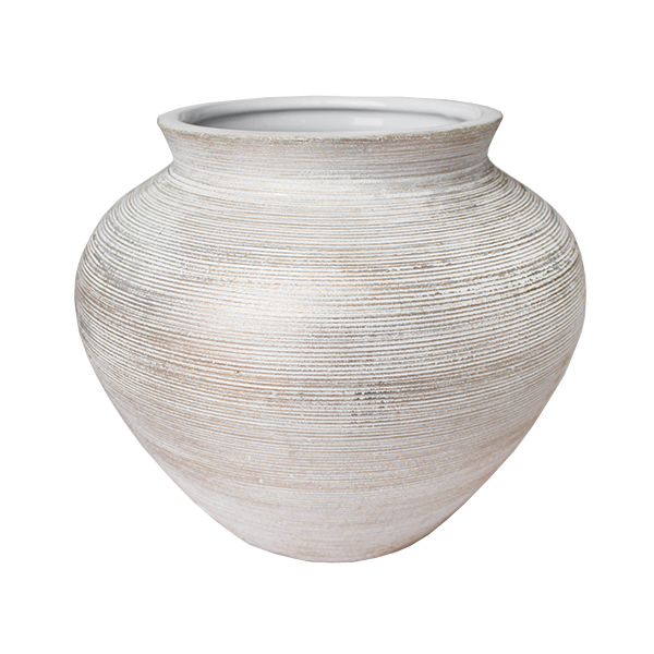 Round White Gold Textured Ceramic Vase 8x9x9 Veronneau Plants